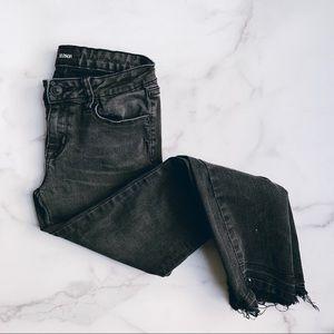 HUDSON • raw hem black skinny jeans